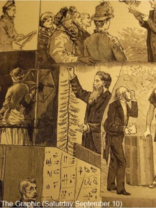 Tylor presenting a bit of string at the British Association for the Advancement of Science, 1887.