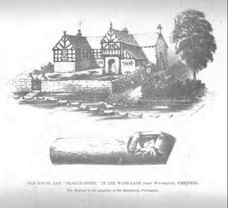 The plague house and plague stone illustration - obviously reproduced after the original Kendrick and London Illustrated News sketeches.