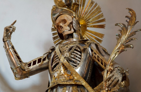 St. Pancratius in Wil, Switzerland was a presumed martyr from the Early Christian era who was believed to have been a soldier, so he was dressed in a custom suit of armor. (Photo with permission of Paul Koudounaris)