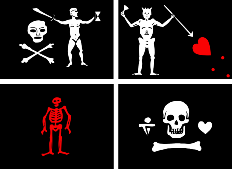 Some examples of 'Jolly Roger' flags. From the Wikipedia article on: Jolly Roger. WIKIPEDIA!