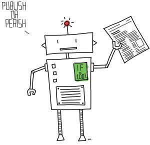 A robot holding an academic paper is saying 'publish or perish'.