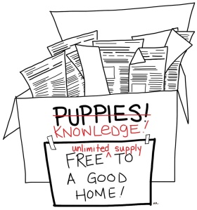 A tattered cardboard box says puppies, but it is crossed out and someone has written 'knowledge: free (unlimited supply) to a good home.
