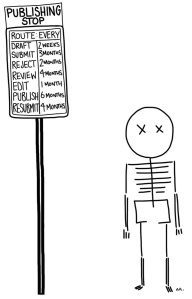 A skeleton is waiting next to a 'publishing stop' sign that states how long various stages take (e.g. review: 2 months).